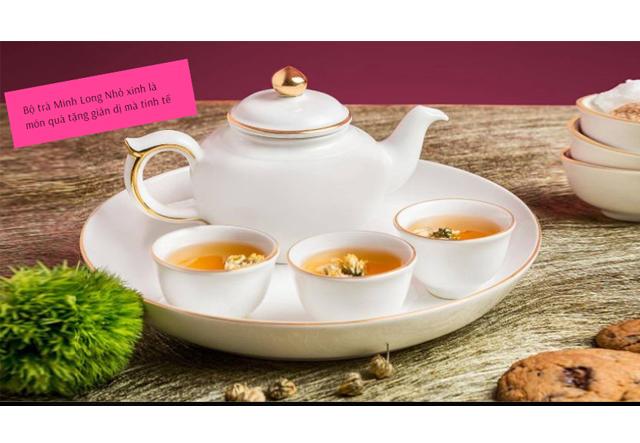 Bộ ấm trà Quà tặng mạ vàng thương hiệu Minh Long