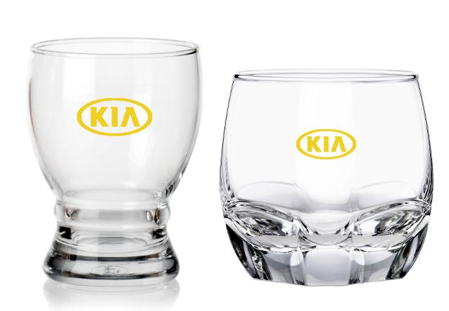 Quà tặng ly thủy tinh in logo mạ vàng