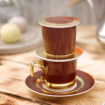Phin cà phê sứ cao cấp dát vàng