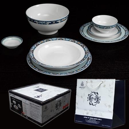 Bộ Tô chén día Minh Long làm quà tặng gốm sứ