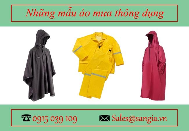 Những mẫu áo mưa thông dụng